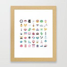 CUTE JAPANESE PATTERN Framed Art Print