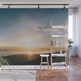 Sunset Paragliding over beach and mountains - Landscape Photography #Society6 Wall Mural