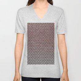 Chic modern black pink faux glitter chevron pattern Unisex V-Neck
