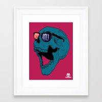 rock n roll Framed Art Prints featuring Rock N' Roll Skull by Diseños Fofo