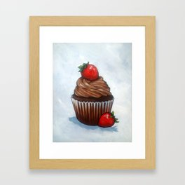 Chocolate Cupcake With Strawberries, Realism Art Framed Art Print
