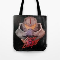 pacific rim Tote Bags featuring Jaeger - Kaiju Hunter from Pacific Rim  by Thecansone