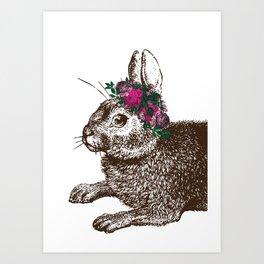 The Rabbit and Roses | Vintage Rabbit with Flower Crown | Rabbit Portrait | Bunny Rabbits | Bunnies Art Print