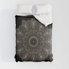 Beautiful hand drawn silver mandala on black Comforters