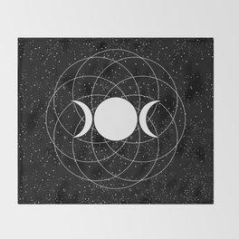 Triple Goddess Moon in Black and White Throw Blanket