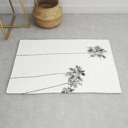 Minimal Black and White Palm Trees Rug