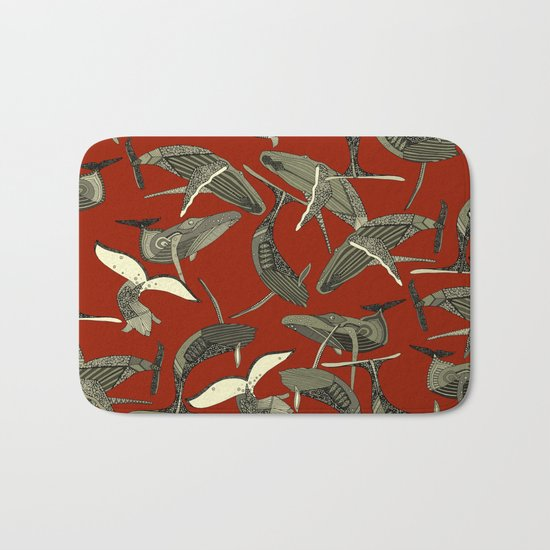 just whales red Bath Mat