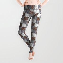 Rustic Brown Gray Beige Patchwork Leggings