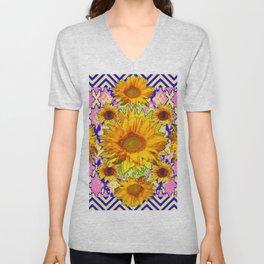 Blue Pattern Floral Sunflowers Pink Art Unisex V-Neck