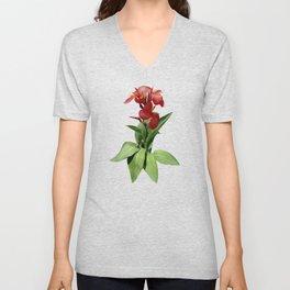 Red Canna Lily Unisex V-Neck