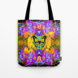 Monarch Butterfly Garden Abstract Tote Bag