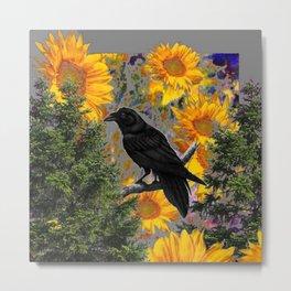 CROW & SUNFLOWERS WILDERNESS GREY ART Metal Print