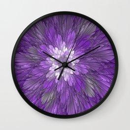 Psychedelic Purple Flower, Fractal Art Wall Clock