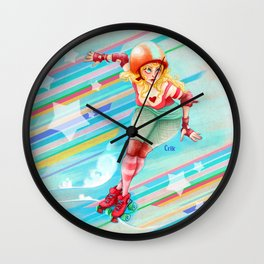 roller derby girl Wall Clock