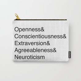 OCEAN (Big 5 Personality Traits) - Black Text Carry-All Pouch