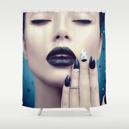 Fashion model girl with trendy gothic black Shower Curtain