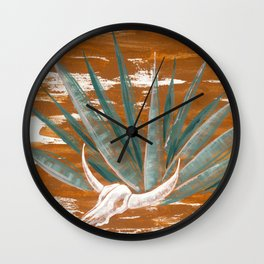 Agave with skull Wall Clock