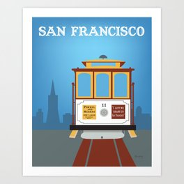 San Francisco, California - Skyline Illustration by Loose Petals Art Print