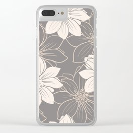 Pink and grey autumn dahlia flowers Clear iPhone Case