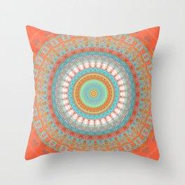 Turquoise Coral Mandala Design Throw Pillow