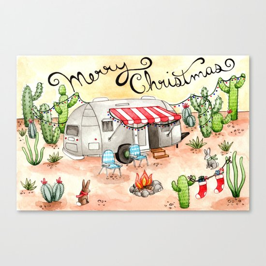 Airstream Christmas Canvas Print