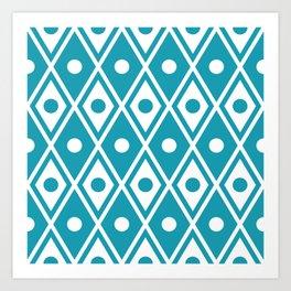 Harlequin Pattern Cerulean Blue Art Print