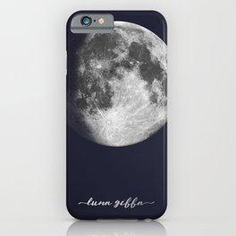 Waxing Gibbous Moon on Navy Latin iPhone Case