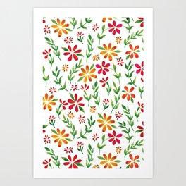 Dark Florals | Original White Palette Art Print