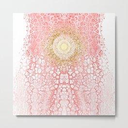 Chakra Sun River - Living-Coral Fluid Glitter Metal Print