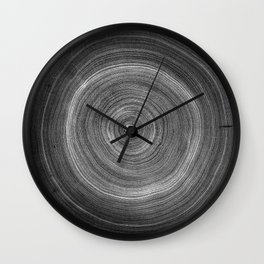 Detailed negaive black and white wood tree with circle growth rings pattern Wall Clock