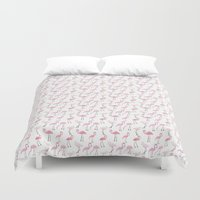 flamingos Duvet Covers featuring Flamingos by Abby Galloway