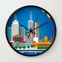 Melbourne, Australia - Skyline Illustration by Loose Petals Wall Clock