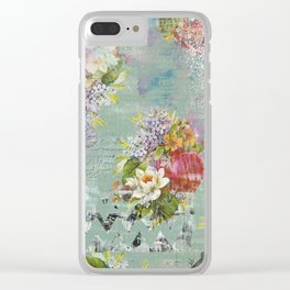 Grunged Florals on Green Clear iPhone Case