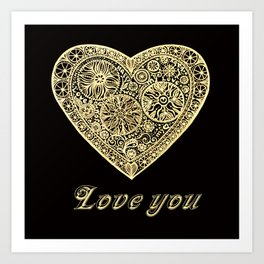 golden heart I love you Art Print