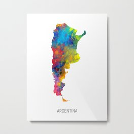Argentina Watercolor Map Metal Print