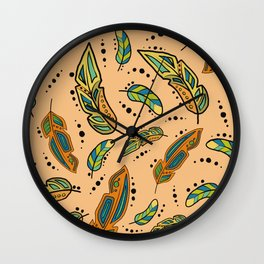 Southwest feathers with background color Wall Clock