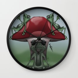 Shroom Frogs Wall Clock