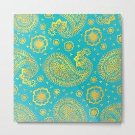 paisley: turquoise & gold Metal Print