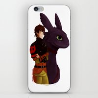 hiccup iPhone & iPod Skins featuring Hiccup and Toothless by tsunami-sand