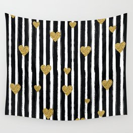 Gold Glitter Hearts Black and White Stripes Wall Tapestry