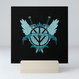 Shield Maiden Winged Teal Viking Shield Mini Art Print