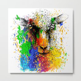 Sheep lamb portrait Metal Print