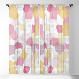 Coral Flowers Sheer Curtain