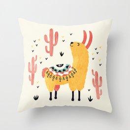 Yellow Llama Red Cacti Throw Pillow