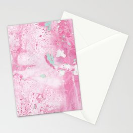 Pink and Mint Marble Stationery Cards