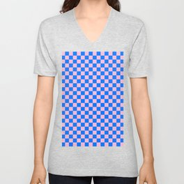 Cotton Candy Pink and Brandeis Blue Checkerboard Unisex V-Neck