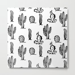 Black cactus seamless pattern on white background. Metal Print