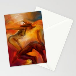 Abstract Interpretive Dance Couple in orange hues and blue Stationery Cards