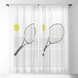 Tennis Racket And Ball 1 Sheer Curtain