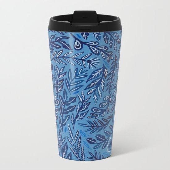 Blue Branches Metal Travel Mug